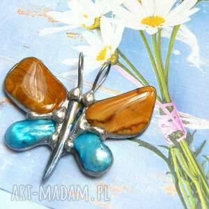 wisiorek ważka z jaspisem, motyl, jaspis, perły, kamieni, kamienie
