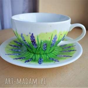 filiżanka ręcznie malowana lawendowa, filiżanka, malowana, w kwiaty