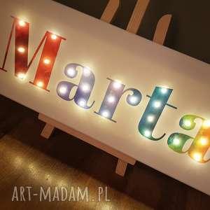 napis led twoje imię personalizowany prezent dla niej obraz tęczowy lampa