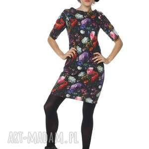 Sukienka w piękne kwiaty bawełna Dutch Roses Kostium, bawełna, polska-marka