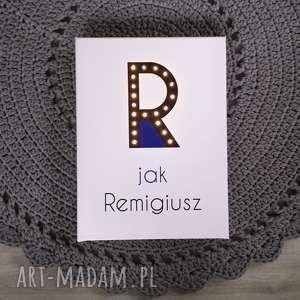 dla dziecka świecąca litera r z imieniem prezent lampka obraz, dekoracja