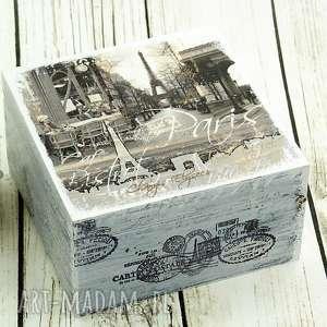 szkatułka na bibeloty- paryż, francja, pudełko, na, biżuterię, drewno, prezent