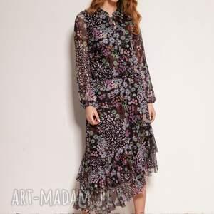 sukienka z siateczkowej tkaniny we wzory - suk193 wzór, sukienki na wiosnę