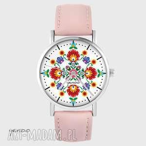 zegarki zegarek - folkowa mandala skórzany, pudrowy róż, zegarek, bransoletka