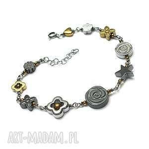 colours mix vol 4 /hematite/ - bransoletka, romantyczna, kwiaty, srebro, hematyt