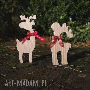 reniferki ozdoby ŚwiĄteczne - renifer, ozdoba, świąteczna, drewno, bombka