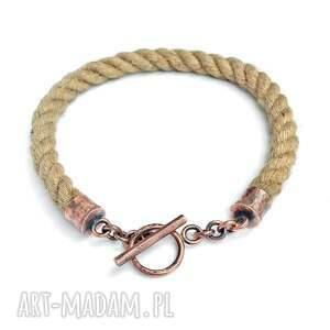 kolia z miedzi i sizalowego sznurka eco, naszyjnik miedź sznurek, prezent