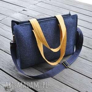 torebka niebieska filcowa - na ramię, torebka, z filcu, pojemna