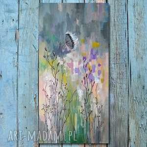 ŁĄKA-obraz akrylowy formatu 100/50 cm , łąka, abstrakcja, akryl, obraz