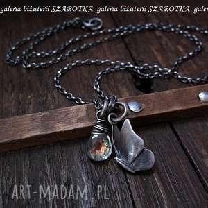 z odrobiną tęczy naszyjnik z kwarcu i srebra, kwarc mystic, kropla srebro