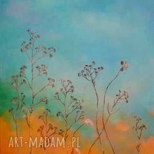 turkusowa łąka -obraz akrylowy formatu 30/40 cm, obraz, akryl, łąka