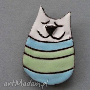 kiciuŚ-broszka ceramiczna - kot, prezent, pastelowy, wyjątkowy, słodki, ona