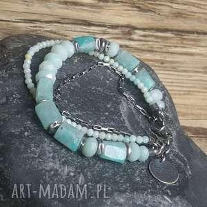 bransoletka srebrna z amazonitami - amazonit srebro, amazonit mozambijski, biżuteria