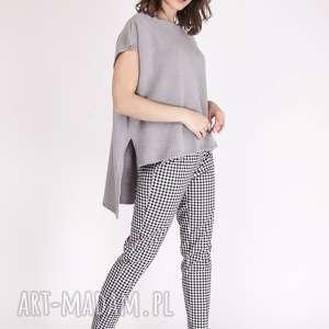 asymetryczny dzianinowy top z przedłużanym tyłem, sweter, dzianinowy, top, szary