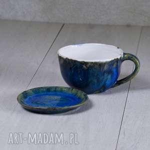 Prezent Ceramiczna filiżanka XL w kolorze niebieskim - 450 ml Rękodzieło | Na prezent