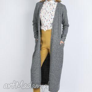 Długi sweter, SWE110 szary, długi, ciepły, dzianina, casual, kieszenie