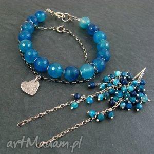 hand-made komplety agat niebieski komplet