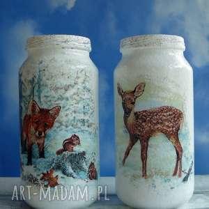 ręcznie wykonane święta prezenty dekoracja. Zima. Komplet dwóch szklanych słoiczków z kolekcji winter