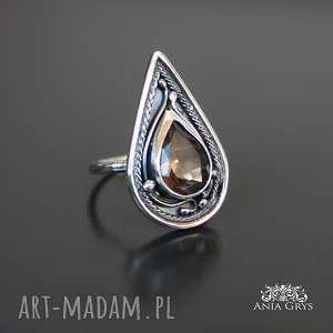 bajkowy kwarc dymny, kwarcdymny, pierścionek, srebrny, aniagrys, prezent