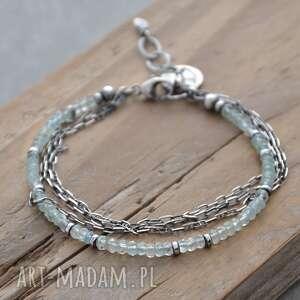 srebrna bransoletka z akwamarynem i łańcuszkami, akwamaryn, srebro 925
