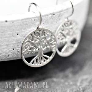 925 srebrne kolczyki drzewo życia - biżuteria, prezent, natura