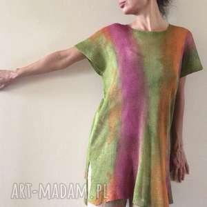 Kolorowa lniana tunika tuniki anna damzyn tunika, bluzka, top