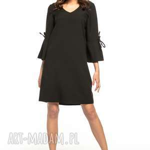 sukienka z falbanką przy rękawie o dekoltem v, t273, czarny, prosta