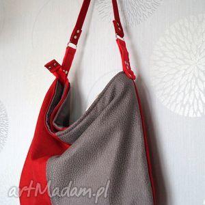 torba hobo z łączonych materiałów, torba, hobo, alcantara, codzienna, prezent