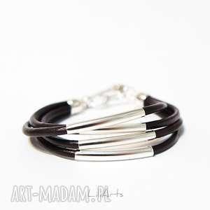 bransoletka - ciemny brąz rzemienie, skórzana, metalowe rurki