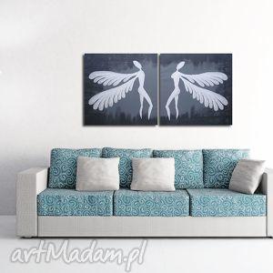 obraz ręcznie malowany ANIOŁY SZCZĘŚCIA I DOBROBYTU - A19 100x50cm, aniooły,