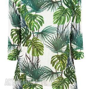 bluzki letni sweter s/m,l/xl, liście, palmy, print, bluzka, drukowana