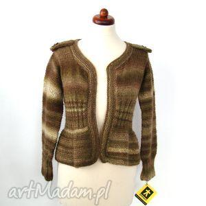 sweterek w brązach, z baskinką i pagonami, sweter, sweterek, narzutka, wdzianko