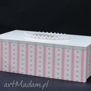 chustecznik - pudełko na chusteczki różowy koronka, chustecznik, koronka