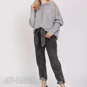 swetry sweter z guzikami - swe218 szary mkm, do pracy, szkoły, szary, guziki