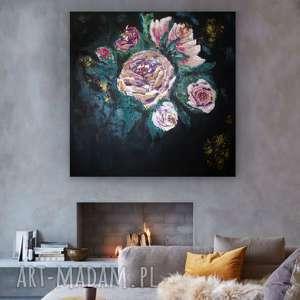 Obraz do Salonu - bogato zdobiony Róża w czerni , salon, salonu, canvas