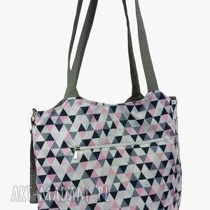 Torba Shopper z mocowanim do wózka Różowo szare trójkąciki, shopperka, torba-do-wózka