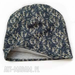 melat32/ designerska czapka jesienna motyle zieleń, czapka, bawełniana