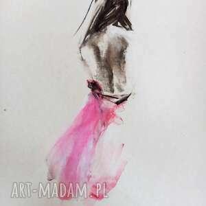 dom rysunek z różem, grafika różowa grafika, kobieta, szkic