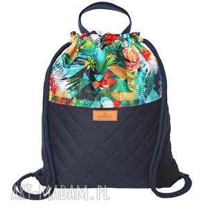 plecak multikolor z pikowanym granatowym spodem, kolorowy, worek, worko