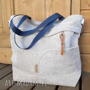 ręcznie wykonane na ramię torba shopperka pudrowy róż #b