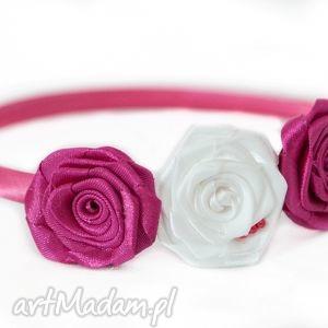 opaska dla dziewczynki z różyczkami - dziweczynka, kwiatek, prezent