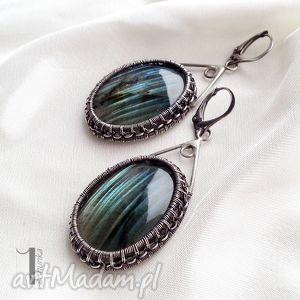 Aquarius - srebrne kolczyki z labradorytem, kolczyki, srebrne, labradoryt, eleganckie