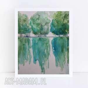 pod choinkę prezent, drzewa-akwarela formatu a4, akwarela, drzewa, papier