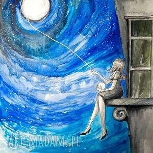 księżycowa włóczka akwarela artystki adriany laube - obraz na papierze a3