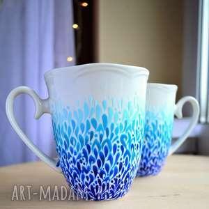 ręcznie zrobione kubki dla pary błękitne ombre malowane