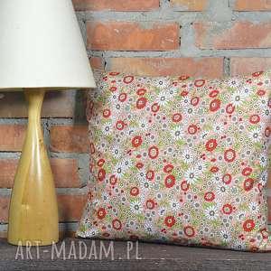 poduszka dekoracyjna wzór kwiaty 40x45cm, poszewka, dekoracja, bawełna, prezent