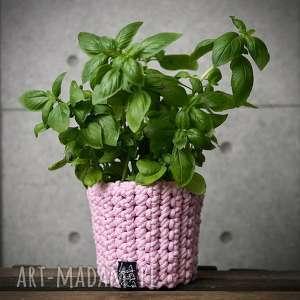 handmade dekoracje doniczka, jasna różowa