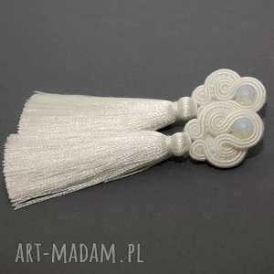 białe kolczyki sutasz, sznurek, eleganckie, wiszące, ślubne, długie, ślub