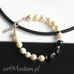 perły seashell z onyksem bransoletka, perły, seashell, srebro, onyks