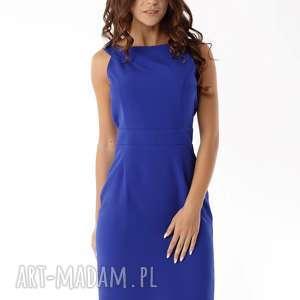 sukienki dopasowana sukienka odcięta w pasie niebieska, elegancka